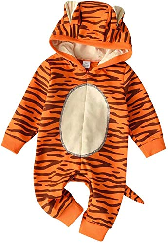JELLYKIDS Baby Hoodie Romper Newborn Baby Boy Girl Long Sleeve Cartoon Animal Print Zipper One Piece Jumpsuit with Tail Orange