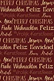 Notebook, Merry Christmas, Feliz Navidad, Joyeux Noel, dotted, 120 pages: 6 x 9' | international | in beige, red | glossy cover | diary, bullet journal, idea book, writing book