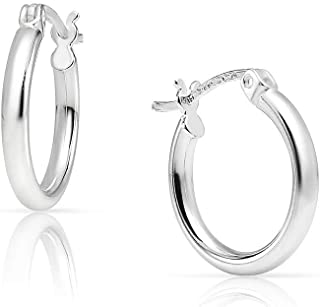 SOLIDSILVER- Sterling Silver 15-80mm Lightweight High Polished Click Top Hoop Earrings