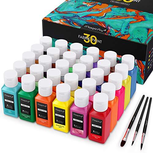 Magicfly Stoffmalfarben Textilfarben Waschfest 30 Farbige Sanft Stofffarben 60 ML Pro Flasche Textil Stoff für Kinder Ideal für Kleidung, T-Shirts, Jeans, Taschen, Schuhe, Glas Holz