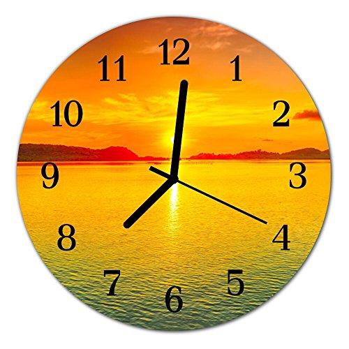 DekoGlas Glasuhr \'Sonnenuntergang orange\' Uhr aus Echtglas, rund große Motiv Wanduhr Ø30 cm, lautlos für Wohnzimmer & Küche