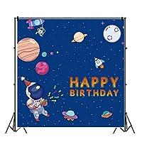 Qinunipoto 3x3m 写真背景背景布お誕生日おめでとうスペース宇宙飛行士誕生日パーティー背景装飾広告背景子供の誕生日キャラクター写真商品写真ビジネス活動家族スタジオ写真撮影の小道具