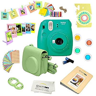 Fujifilm Instax Mini 9 Camera + 14 PC Instax Accessories kit Bundle, Includes; Instax Case + Album + Frames & Stickers + Lens Filters + More from FUJIFILM