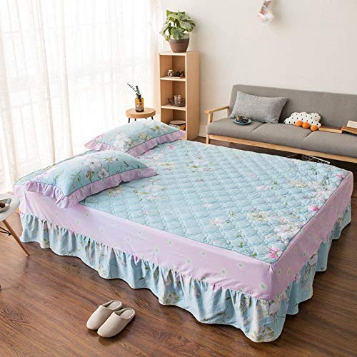 JRDTYS Easy Care Soft Brushed Microfiber Fabric -Shrinkage and Fade ResistantCotton bed skirt with lace protective cover-03_150*200cm