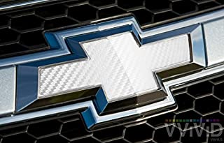 VVIVID White Carbon Fibre Auto Emblem Vinyl Wrap Overlay Cut-Your-Own Decal For Chevy Bowtie Grill, Rear Logo Diy Easy To Install 11.80 Inches x 4 Inches Sheets (x2)
