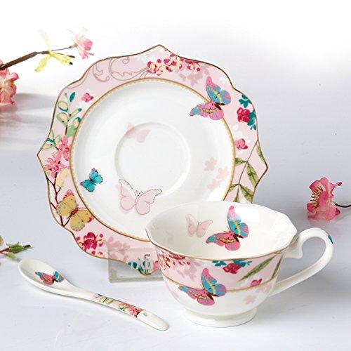 Tee und Kaffeetasse aus hochwertigem Porzellan mit Schmetterlingsmotiven Vintage