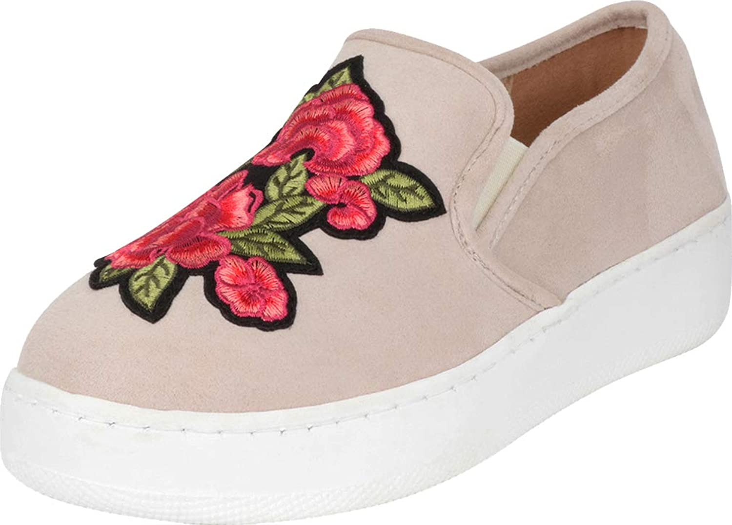 Cambridge Select Women's Floral Embroidered Patch Stretch Slip-On Flatform Fashion Sneaker