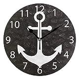 Mariisay Reloj De Pared Redondo Números Arábigos Chic Casual Acrílico Redondo No Funciona 24 1 Cm Reloj De Pared Negro Ancla Diseño Antiguo Vintage Estilo Rústico Moderno