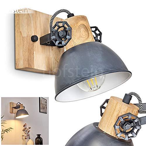 Wandleuchte Orny, verstellbare Wandlampe aus Metall/Holz in Grau/Weiß/Braun, 1-flammig, 1 x E27 Fassung max. 60 Watt, Wandspot im Retro/Vintage Design, für LED Leuchtmittel geeignet
