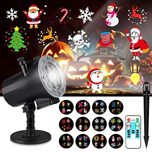 Creyer Luces de Proyector de Año Nuevo de Navidad, con 12 Diapositivas Reemplazables y Control Remoto, IP65 Impermeable Lampara Proyector, Decoración Interior y Exterior, Fiesta, Boda, Festival