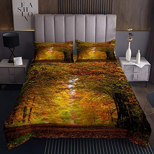 Feelyou Kids Forest Tree Quilted Coverlet Women Autumn Tree Print Bedspread Natural Scenery Coverlet Set for Boys Girls Men Bedroom Decor Nature Lover Gift Quilted Twin Size with 1 Pillow Case