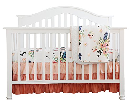 Boho Coral Feather Floral Ruffle Baby Minky Blanket Peach Floral Nursery Crib Skirt Set Baby Girl Crib Bedding Feather Blanket