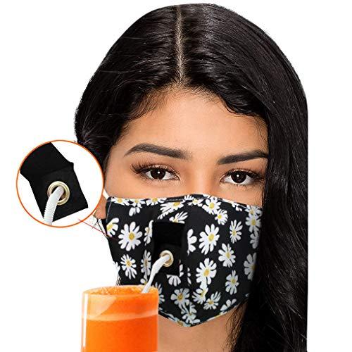 1 Stück Mundschutz Waschbar mit Motiv Anti-Staub Wiederverwendbare mundschutz für Männer und Frauen,Mundschutz, der Getränke Trinken kann (C)