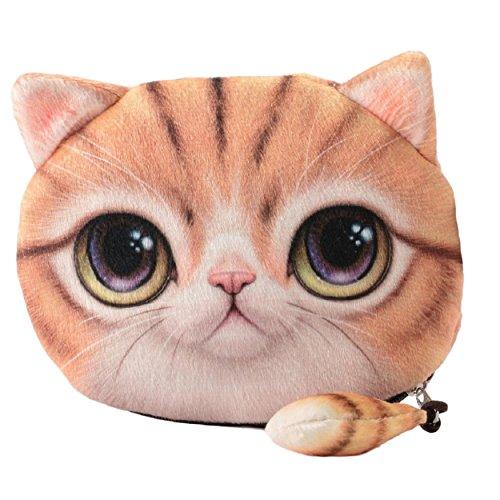 Flauschiger Geldbeutel Münzbörse Make-up- und Kosmetiktasche für junge Frauen und Mädchen Süßes Katzenmotiv Animal Print Katzenohren und Schwänzchen Reißverschluss (Hellbraun)