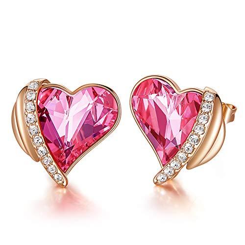 CDE Pendientes Mujer Chapados en Oro Rosa u Oro Blanco Aretes de Corazón de Amor de San Valentín joyería regalo para Mujer Madre Esposa(Rosa dorado-rosado)