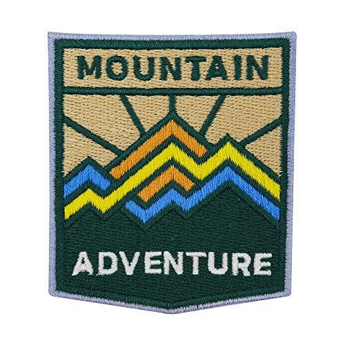 Finally Home Adventure Collection - Parches termoadhesivos con diseño de montañas verdes de montaña aventurera con sol, para exteriores, también adecuados para mochilas