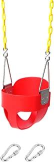 Take Me Away High Back Full Bucket Toddler Swing Seat with Yellow Coated Swing Chains Fully Assembled - Heavy-Duty Swing (Red)