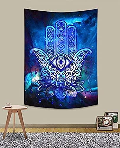 QJIAHQ Colorido Tapiz de Hamsa Trippy Hamsa Mano de Fátima Tapiz Colgante de Pared psicodélico Galaxy Boho Hippie tapices para Dormitorio Sala de Estar decoración del hogar 40 x 60 Pulgadas