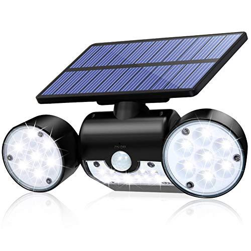 CINOTON Solar Flood Lights Outdoor Motion Sensor 30 LED Solar Light Dual Head Spotlights IP65 Waterproof 360