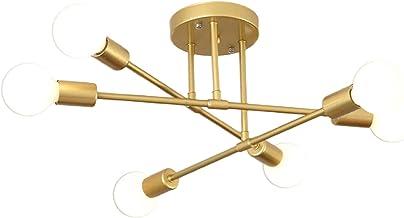 LOVIVER Luminária pendente 6 lâmpadas Simplicidade moderna Lâmpada de teto moderna para escritório - Ouro