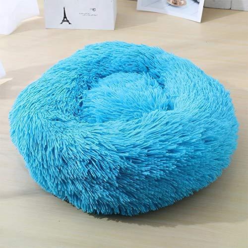 VIP Link - Dog Long Llush Dounts Camas Cama de Calma Hondenmand Pet Kennel Super Suave Suave Cómodo para el Perro Grande/Cat House (Color : Azul, Size : M 60cm)