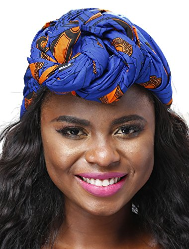 Shenbolen African Traditional Wax Print Head wrap Headwrap Scarf Tie,One Size (71in21in, D)