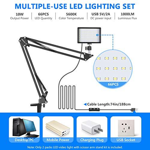 Neewer Videokonferenz Licht kit für Zoom-Anrufbesprechung/Fernarbeit/Selbstübertragung/YouTube-Video/Live-Streaming: Dimmbares 2-Pack LED-Videolicht 5600K mit Scherenarmständer und Farbfiltern