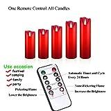 OSHINE LED Kerzen, Flammenlose Kerzen 300 Stunden Dekorations-Kerzen-Säulen im 5er Set (10,2 cm 12,7 cm 15,2 cm,17.8 cm,20.3 cm) rot Geeignet für Weihnachtsdekoration - 7
