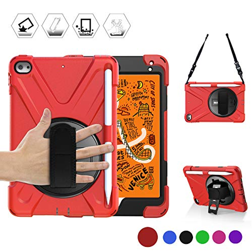 BRAECN iPad Mini 5th/4th Generation Case for Kids, Shockproof Three Layer Protective Case with Rotating Kickstand/Hand Strap,Carrying Shoulder Strap and Built-in Pencil Holder for iPad Mini 2019-Red