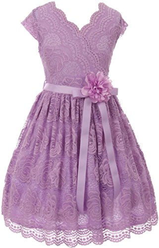 Flower Girl Dress Curly V-Neck Rose Embroidery Allover for Little Girl Lilac 10 JKS.2066