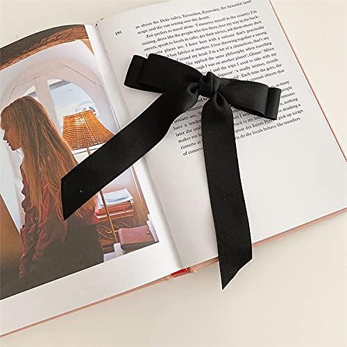 xiangwang 2021New - Pinza de pelo de satén para niñas con lazo de pelo largo a la moda, cinta de temperamento para mujer, accesorios para el cabello para mujer (color dorado, tamaño: talla única)