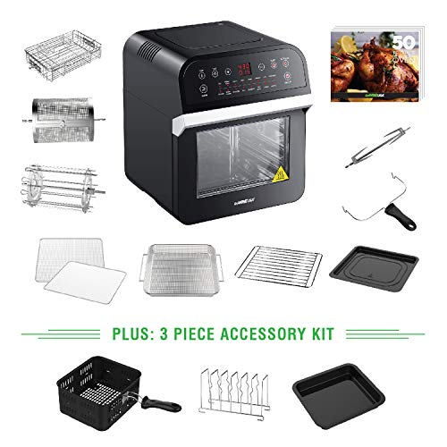 GoWISE USA 12.7-Quart 15-in-1 Electric Air Fryer Oven w/Rotisserie and Dehydrator, 1600W with 10 Accessories and 3-Piece Air Fryer Oven Accessory Set + 50 Recipes for Your Air Fryer Oven Cookbook (Black)