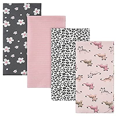 Gerber Baby 4-Pack Flannel Receiving Blanket, Leopard Off White, One Size