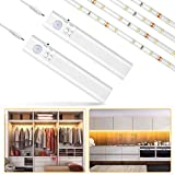 2PCS Luces de armario Sensor de movimiento con pilas, Tira LED flexible de 1M Warmwhite para gabinete de armario de pared, armario, escaleras, cajón (alimentado por 4 baterías AAA, no incluidas)