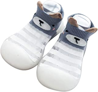 Lonsc Baby First-Walking Shoes Non-Skid Kids Floor Cotton Rubber Stripes Breathable Learning Socks Shoes