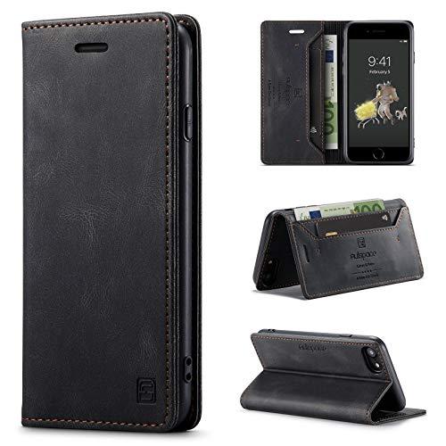 uslion Funda para iPhone 6/6s/7/8/SE 2020 RFID Funda para teléfono móvil con Ranura para Tarjetas y Dinero función Atril Cierre magnético Funda de Piel para iPhone 6/6S/7/8/SE2 Color Negro
