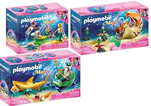 PLAYMOBIL® Magic 3er Set 70097 70098 70100 Meereskönig mit Haikutsche + Meerjungfrau mit Schneckengondel + Familie mit Muschelkinderwagen
