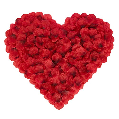 BESKIT 3000 Pieces Dark Red Rose Petals Artificial Flower Silk Petals for...