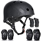 QF Skateboard Protection Pads Set and Helmet Protective Gear Set for Cycling, Skating, Scooter Roller and BMX Suitable for Adults Youth (Black, Large/Adults)
