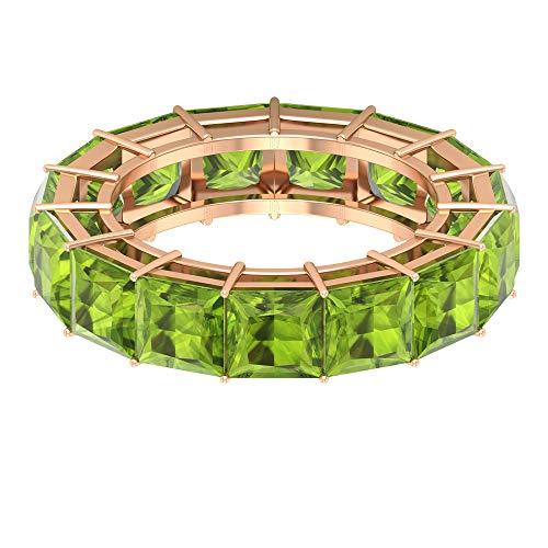 Anillo de boda para mujer, 11,2 CT 5 mm, corte princesa, anillo de eternidad, anillo de agosto, anillo de aniversario para ella, anillo único con piedras preciosas, 18K Oro rosa, Size:EU 64