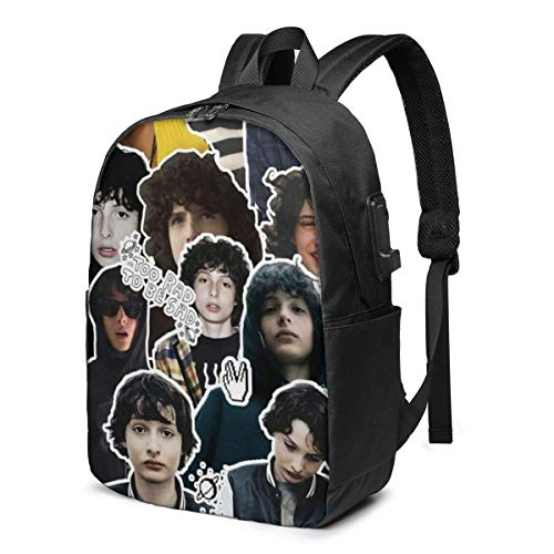 Hdadwy Fi-nn Wo-lfh_ard Mochila de estudiante de 17 pulgadas, mochila deportiva de ocio de montañismo, puerto USB, mochila de interfaz de cable para auriculares