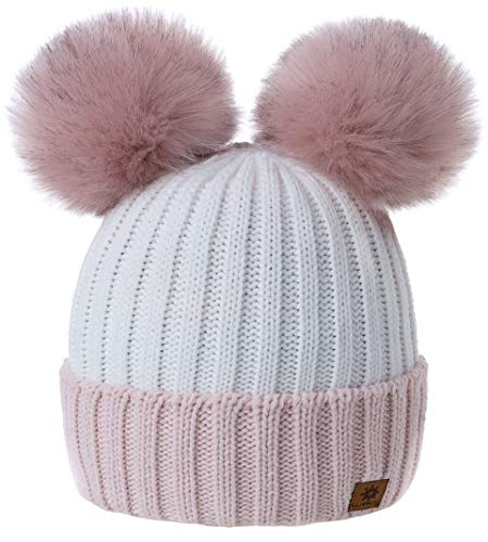 MFAZ Morefaz Ltd Mädchen Winter Beanie Mütze Kinder Groß Pom Pom Style Kids SKI Snowboard (Powder-Pink White)
