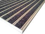 HD60 - Felpudo profesional de aluminio para empotrar y atrapar la suciedad, entrada, varios depósitos y colores, marco de montaje incluido, dimensiones: 61 x 38 cm, color negro