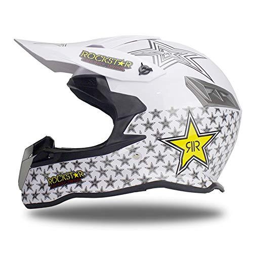 Woljay Motocross Off Road Street Dirt Bike Full Face Motorcycle Helmet MX MTV (White, S)