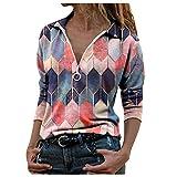 YANFANG Blusa Tops para Mujer Camiseta Hoodies Talla Grande de Manga Larga con estanmpado Suelta Tie-Dye Impreso Bordado Cuello para Invierno Casual (Red0125, L)