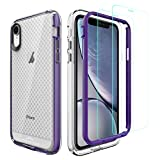 PeakDrop Compatible with iPhone XR Case, Clear Full Body Heavy Duty Protective Case Full Body Transparent Cover Designed for iPhone XR (2X Glass Screen Protector Included) (6.1 inch, 2019) - X-Purple