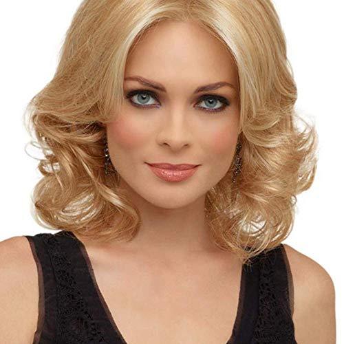 NBVCX Inicio Accesorios Lady Full Wig Peluca Ombre Blonde Curly Short Bob Sintético para Mujeres Pelucas diarias Moda Natural