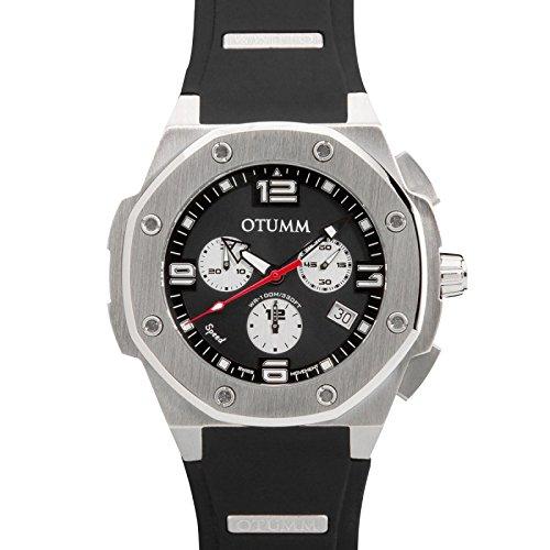 Otumm Speed Unisex Uhr Chronograph mit Schwarz Silikon Armband SPST45-001