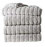 Clara Clark Faux Fur Heavy Mink Ultra Plush Cozy Warm Rabbit Bed Blanket, King, Silver