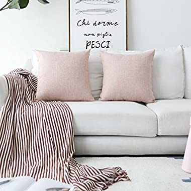 HOME BRILLIANT Decorative Pillows Covers Lined Linen Cushion Covers for Bed, Set of 2, 18x18 inches, Baby Pink